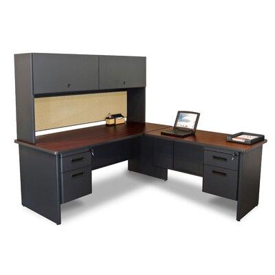 Pronto Pedestal L-Shape Executive Desk with Hutch Finish: Mahogany/Dark Neutral