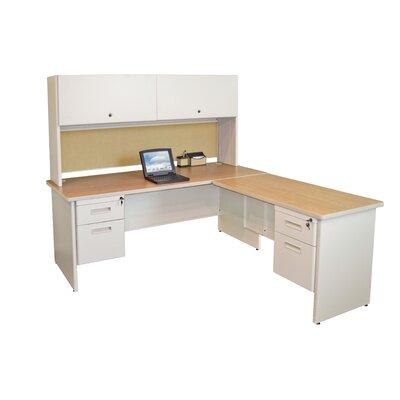Pronto Pedestal L-Shape Executive Desk with Hutch Finish: Oak/Putty