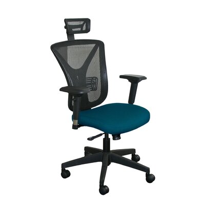 Fermata Mesh Desk Chair Upholstery Color: Iris Fabric and Black Base, Headrest Included: Yes