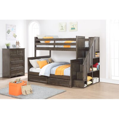 Lauri Twin Over Full Bunk Bed with Drawers Color: Burnished Gray