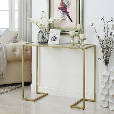 Dowling Glass Top Console Table Color: Gold