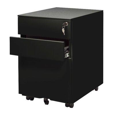 Office 3 Drawer Mobile File Cabinet Color: Black