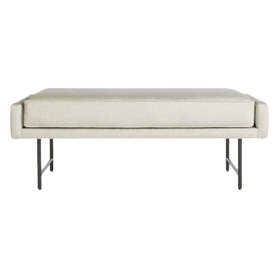 Bank Upholstered Bench Upholstery Color: Linen, Leg Color: Metal