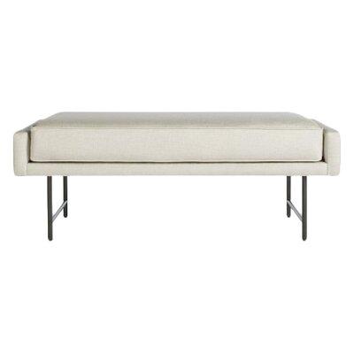 Bank Upholstered Bench Upholstery Color: Linen, Leg Color: Metal