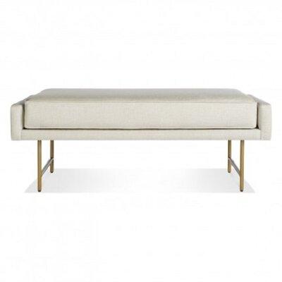 Bank Upholstered Bench Upholstery Color: Linen, Leg Color: Brass