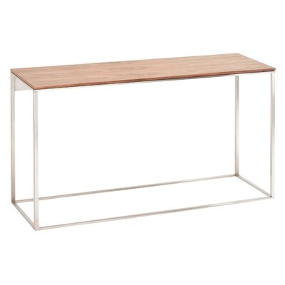 Minimalista Console Table Top Color: Walnut, Base Color: White