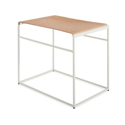 Common Leather Sling Stool Color/Seat Color: White/Day