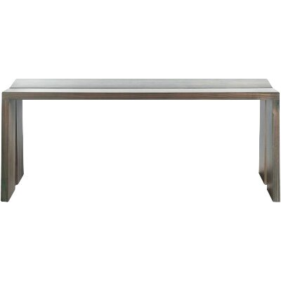 "Amicable Split Wood Bench Size: 17.7"" H x 60"" W x 17.1"" D, Color: Smoke on Ash"