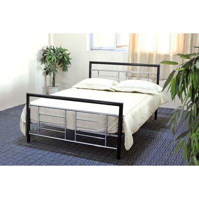 Hodedah Metal Bed in Black & Silver Twin Size