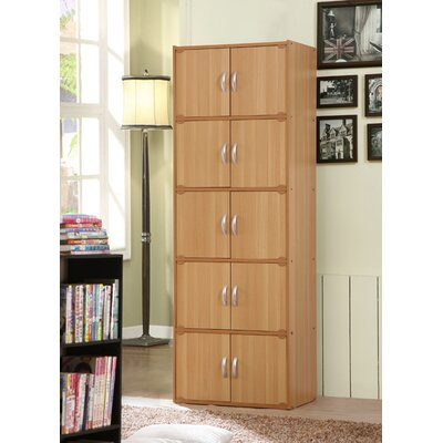 10 Door Storage Accent Cabinet Color: Beech
