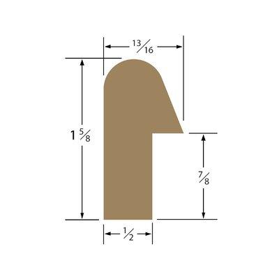 "SeaTeak 1.63"" x 0.81"" x 60"" Solid Teak Straight Length Rail Molding"