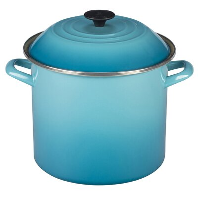 Enamel On Steel Stock Pot with Lid Size: 10 Qt., Color: Oyster
