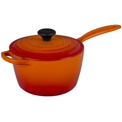 Enameled Cast Iron Signature Saucepan with Lid Color: Flame, Capacity: 2.25 Qt.