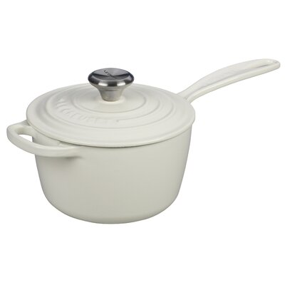 Enameled Cast Iron Signature Saucepan with Lid Capacity: 3.25 Qt., Color: White