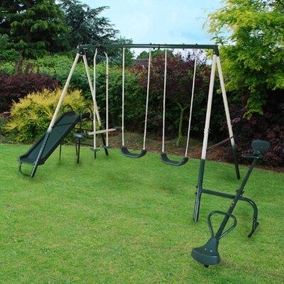 Kingfisher 5 Piece Outdoor Garden Slide Seesaw Swing Set
