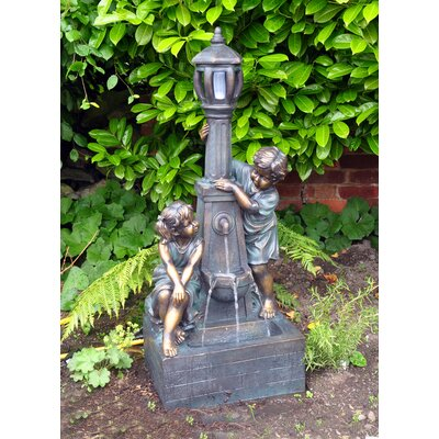 Kingfisher Boy and Girl Lamp Post Fountain