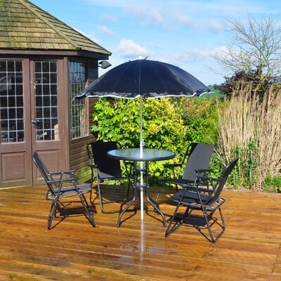 Kingfisher 4 Seater Dining Set with Parasol