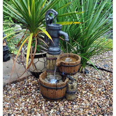 Kingfisher Wood Twin Barrel and Hand Pump Water Fountain