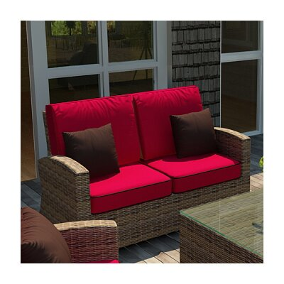 Cypress Loveseat with Sunbrella Cushions Color: Flagship Ruby/Canvas Bay Brown Welt