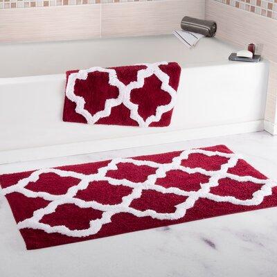 Garan 2 Piece Trellis Cotton Bath Mat Set Color: Burgundy