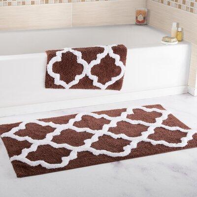 Garan 2 Piece Trellis Cotton Bath Mat Set Color: Chocolate