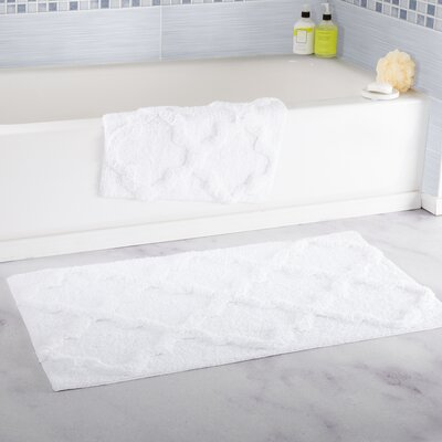 Garan 2 Piece Trellis Cotton Bath Mat Set Color: White