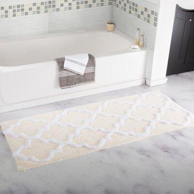 Godmanchester Trellis Cotton Bath Mat Color: Bone