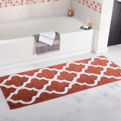 Godmanchester Trellis Cotton Bath Mat Color: Brick