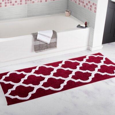 Godmanchester Trellis Cotton Bath Mat Color: Burgundy