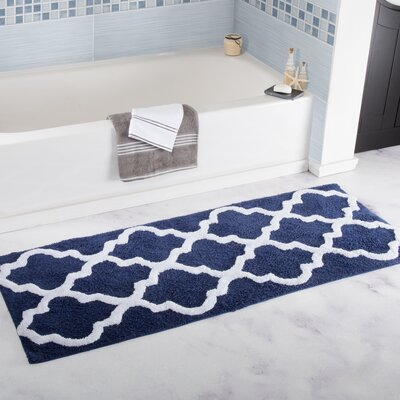 Godmanchester Trellis Cotton Bath Mat Color: Navy