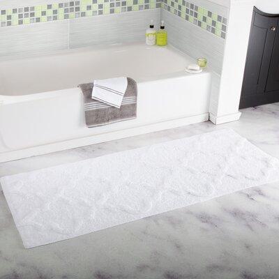 Godmanchester Trellis Cotton Bath Mat Color: White
