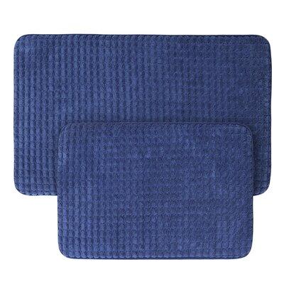 Jacquard Fleece Memory Foam 2 Piece Bath Rug Set Color: Navy