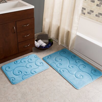 Taraval 2 Piece Embossed Memory Foam Bath Rug Set Color: Blue