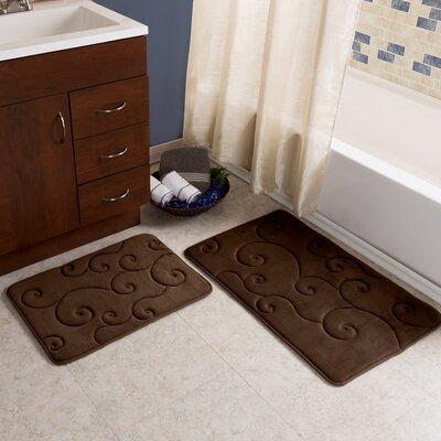 Taraval 2 Piece Embossed Memory Foam Bath Rug Set Color: Chocolate