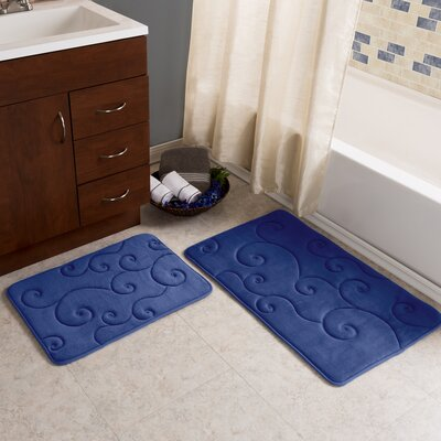 Taraval 2 Piece Embossed Memory Foam Bath Rug Set Color: Navy