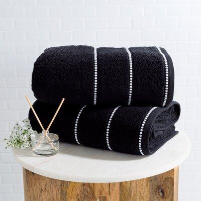 2 Piece 100% Cotton Bath Sheet Set Color: Black