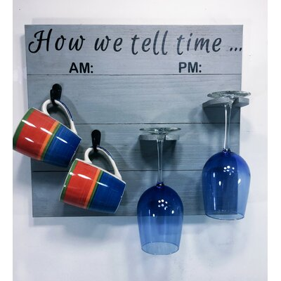 Vosburg How We tell Time Wooden Coffee/Wine Glass Rack Finish: Gray