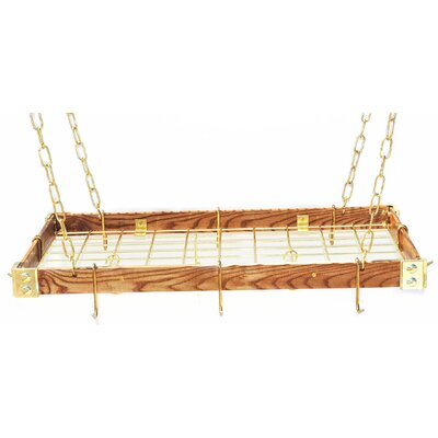 Gourmet Hanging Pot Racks with Metal Accents Metal: Brass, Wood: Dark