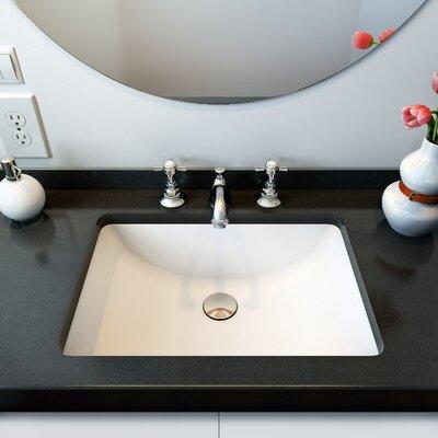 Fusion Ceramic Rectangular Undermount Bathroom Sink with Overflow