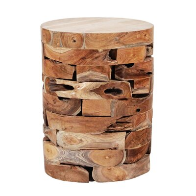 Round Teak Block Stool Finish: Natural
