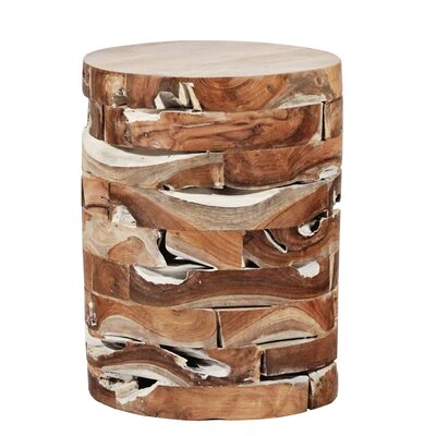 Round Teak Block Stool Finish: White