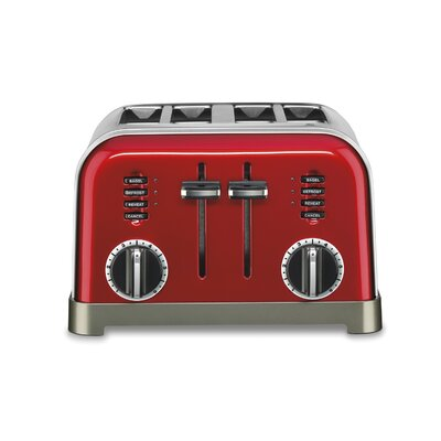 Metal Classic 4 Slice Toaster Color: Red