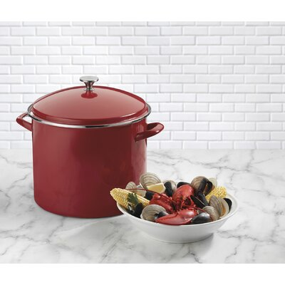 Stock Pot with Lid Color: Red, Size: 20 qt.