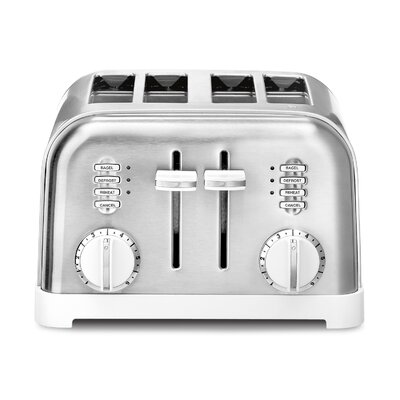 Metal Classic 4 Slice Toaster Color: White