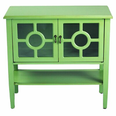 2 Door Console Acccent Cabinet Color: Green