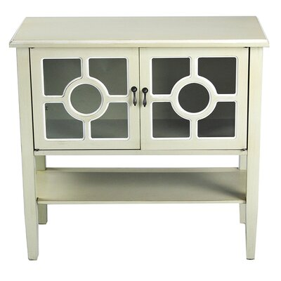 2 Door Console Acccent Cabinet Color: Beige Finish/White