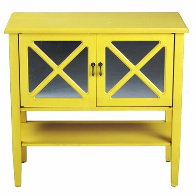 2 Door Console Acccent Cabinet Color: Yellow
