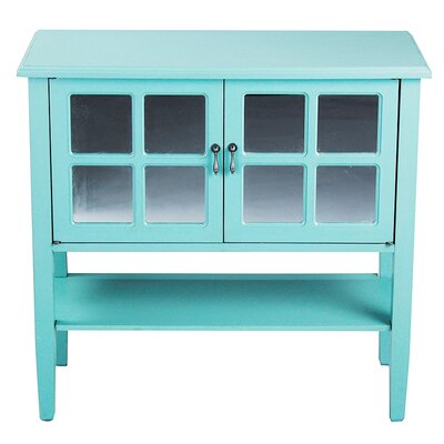 2 Door Console Acccent Cabinet Color: Turquoise