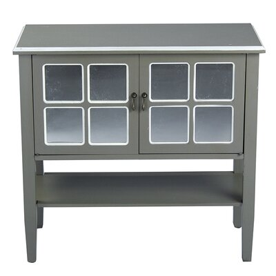 2 Door Console Acccent Cabinet Color: Grey/White