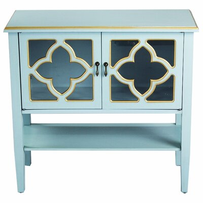 2 Door Console Acccent Cabinet Color: Blue/Gold